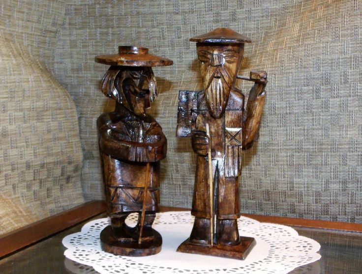 2 Asian Carved Wood OLD MEN Statues ~ Visu The Woodsman & The Old Priest ~ 50's Carved Wooden Dolls  ~ Oriental Home Office Decor Folk Art by EclecticJewells on Etsy