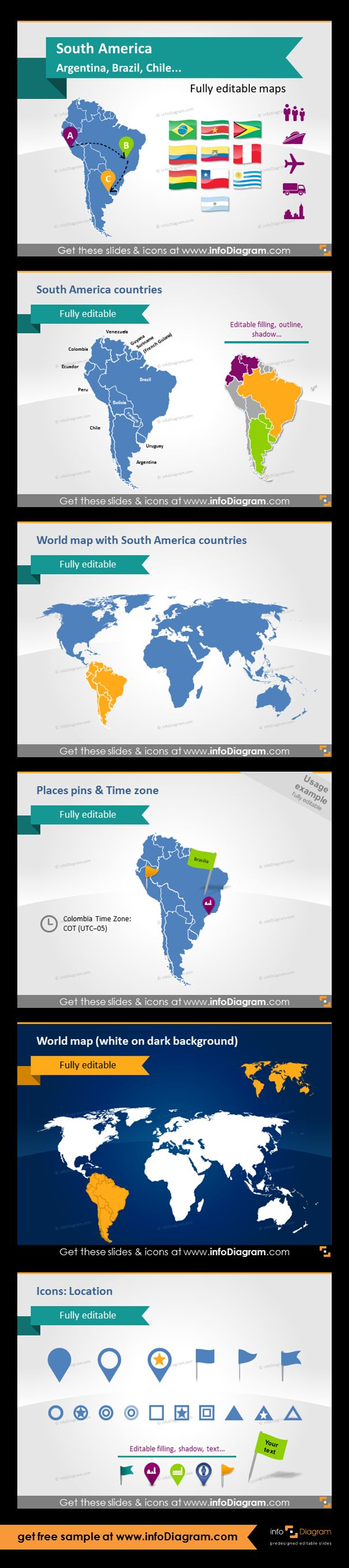South America countries - editable PowerPoint maps, localization and transport icons, country statistics. Fully editable maps, icons, arrows. South America countries, South America on the world map, Places pins and indicating time zone, world map on dark background, location icons.