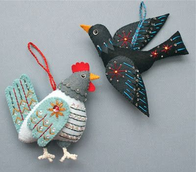 Cute 12 days of Christmas ornaments made of embroidered felt (days 3 & 4); links to other days