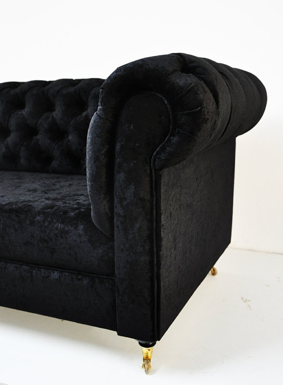 I am just crazy about chesterfields lately. [black velvet chesterfield sofa by namedesignstudio on Etsy, $2500]