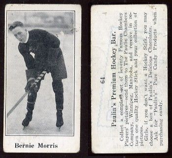 "Bernard Patrick ""Bernie"" Morris (August 21, 1890 – May 16, 1963) was a Canadian professional ice hockey player. He played for the Seattle Metropolitans of the Pacific Coast Hockey Association. When the Metropolitans became the first U.S.-based team to win the Stanley Cup in 1917, Morris scored 14 of Seattle's goals (in a best-of-five series). Morris also played for the Calgary Tigers, the Boston Bruins and various minor league teams."
