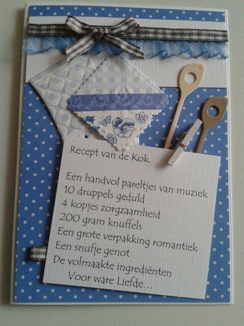 Kaart met gedichtje. Recept van de kok. Met pollepels en pannenlap.