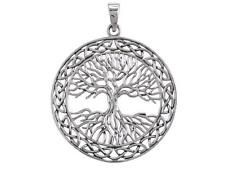 925 Sterling Silver Celtic Irish Infinity Knots Tree of Life Big Pendant 9gr