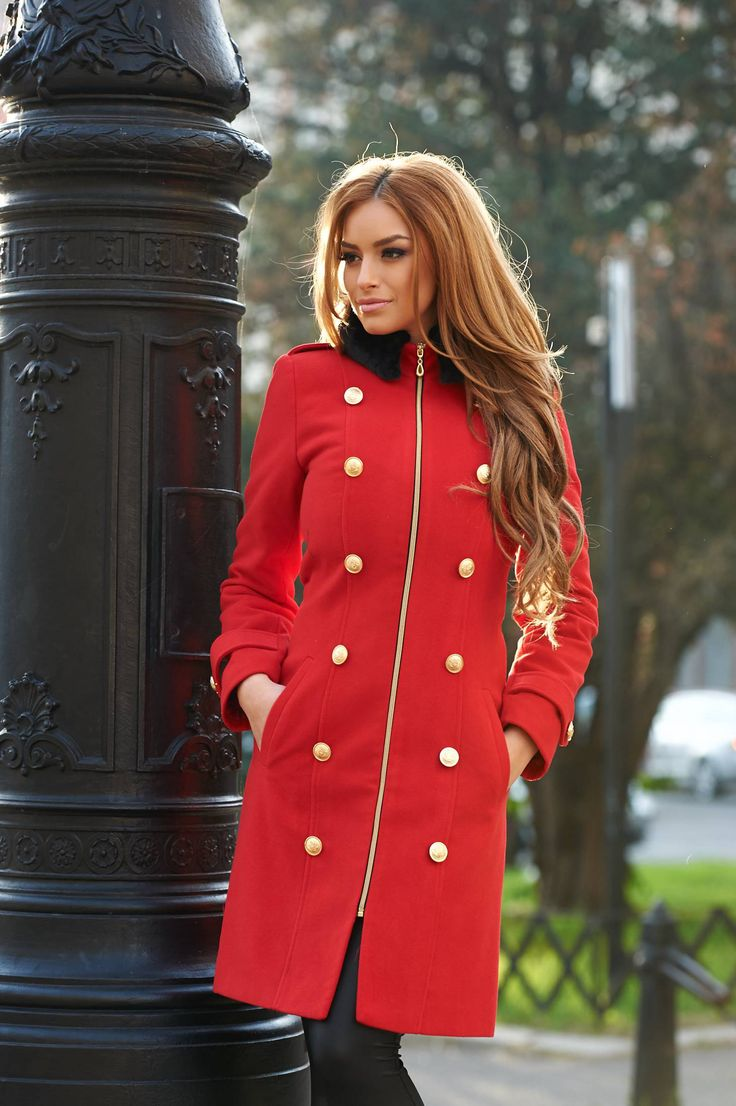 LaDonna Modern Style Red Coat