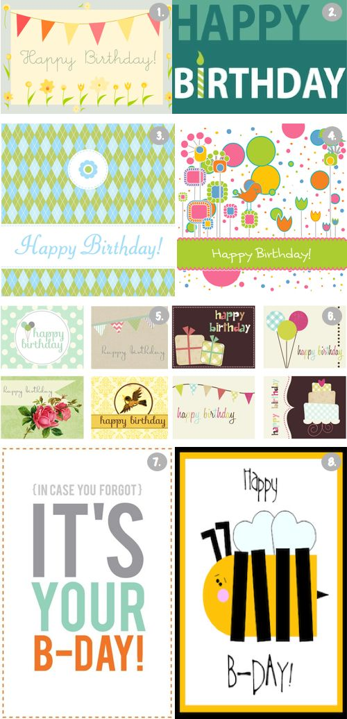 8 Free Printable Happy Birthday Cards