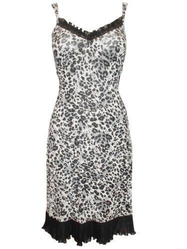 Marks-Spencer-T40-Nuisette-mi-longue-imprimee-animal-panthere-tissu-jersey