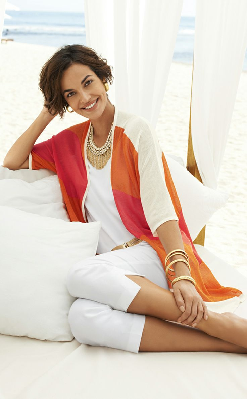 Chico's Diagonal Stripe Char Cardigan. Our summer crush? Orange!