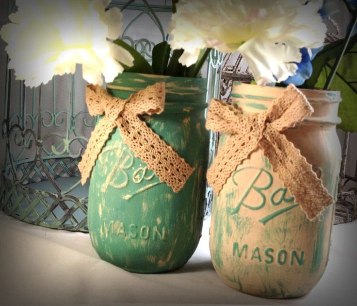Painted mason jars beach wedding shabby chic decor by QUEENBEADER, $14.00