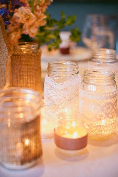 Lace & burlap candles