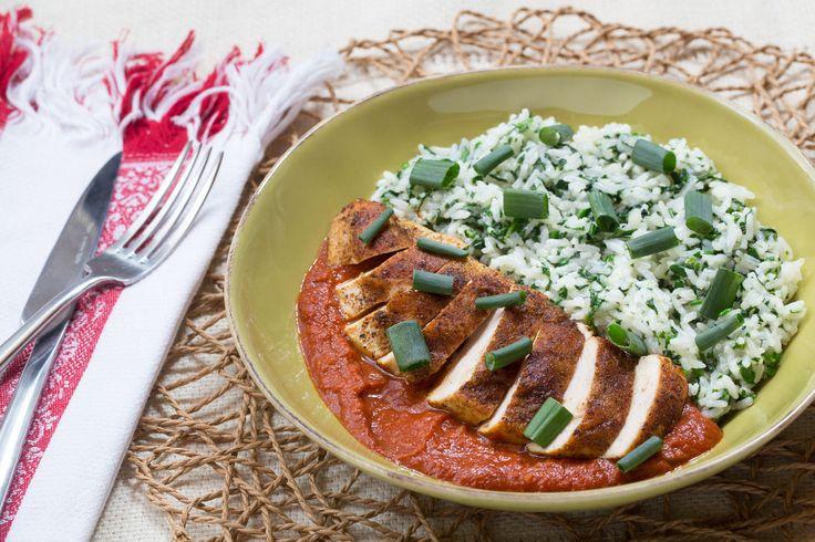Nepalese Chicken Tarkari with Garlic-Spinach Rice & Spiced Tomato ...