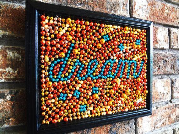 "Mardi Gras bead ""Dream"" framed original bead art 8 x 10, orange, blue, turquoise, original, inspirational art, bead art"