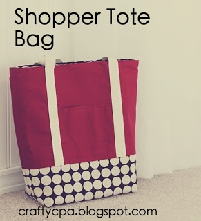 Adorable shopper tote bag tutorial:  http://craftycpa.blogspot.com/2011/07/return-on-creativity-shopper-tote-bag.html
