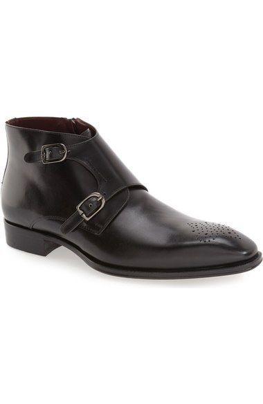Handmade Men black leather boot, Men double monk leather boots, Mens brogue boot #Handmade #Monkankleboot