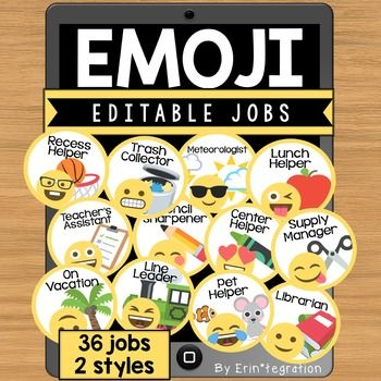 Emoji Job Cards - 36 jobs to use or edit and write your own!These editable Emoji job cards can be used in a pocket chart, ribbon display, bulletin board or magnet whiteboard.Each set comes with your choice of white or black background.Job titles are completely editable on the included PowerPoint file..zip file includes: 36 different jobs in both white & black backgrounds.     -Supply Manager     -Pencil Sharpener     -Meteorologist     -Center Helper     -Lunch Helper     -Trash Collector...