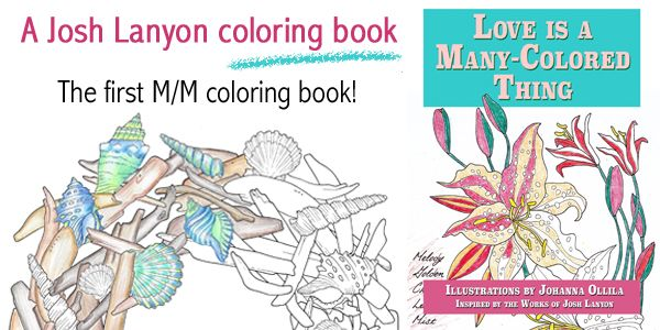 Web banner for a coloring book for grown-ups made by Josh Lanyon and Johanna Ollila. Illustrations and the banner made by Johanna.