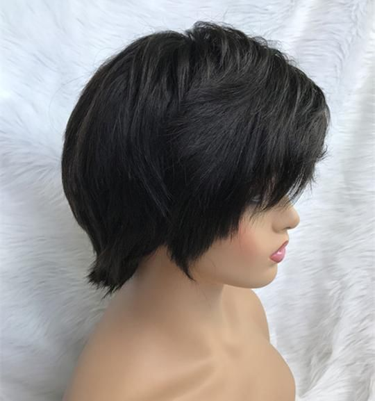 Full Lace Wig Short Pixie Cut Virgin Human Hair Straight