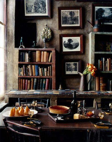 brown, cozy, kitchen, library, room