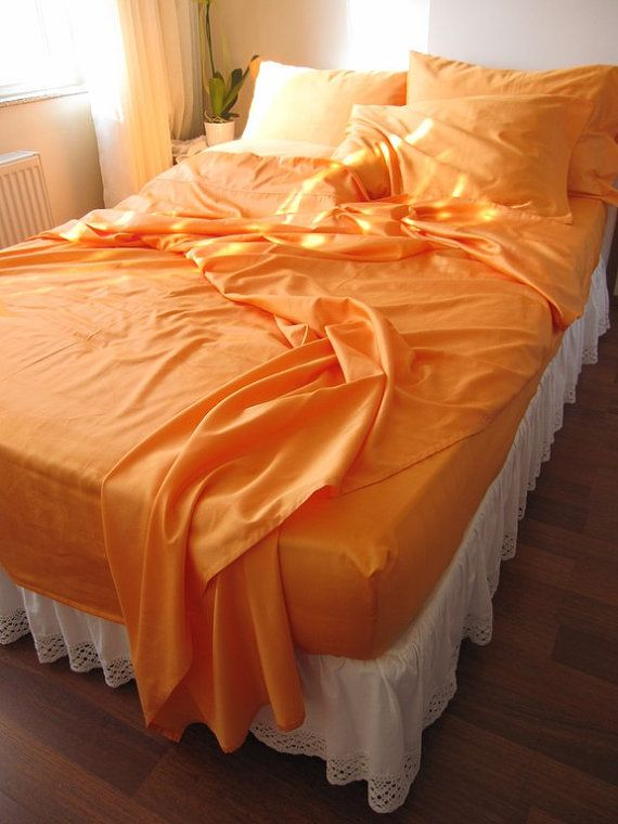 Turkish orange-gold bed sheet sets by nurdanceyiz on Etsy, $110.00 in queen, please!