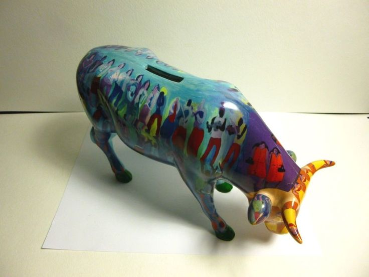 "COW PARADE 2002 SUMMERTIME BANK #7464 ""LARGE RARE"" CERAMIC COW BANK 10""LONG #Westland"