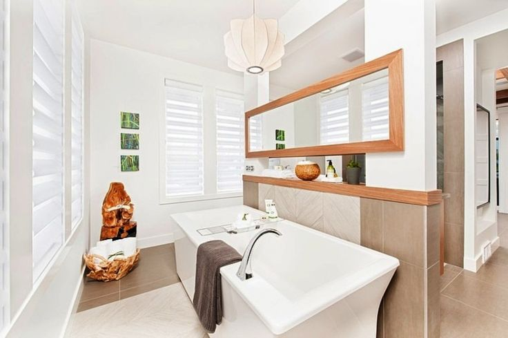 Home Design, Modern Stunning Bathroom Design With White Bathtub Plus Artsy Unique Carved Wooden Decoration: Amazing and Adorable Stampade Rotary Home Design Ideas