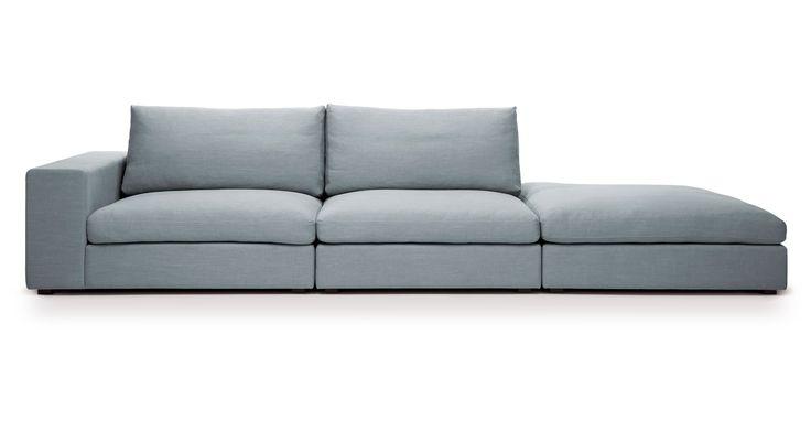 Cube Glacier Blue Modular Sofa, Left Arm - Sofas - Bryght   Modern, Mid-Century and Scandinavian Furniture