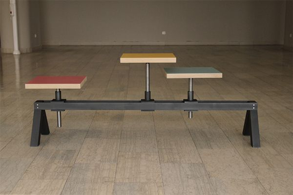 POYKE is a work stool and a three seated bench, a hybrid with adjustable seat position and height. Its legs, rails and height adjustment system are made of steel while seating stools are made of wood. Seating area is coloured in different range of colours…