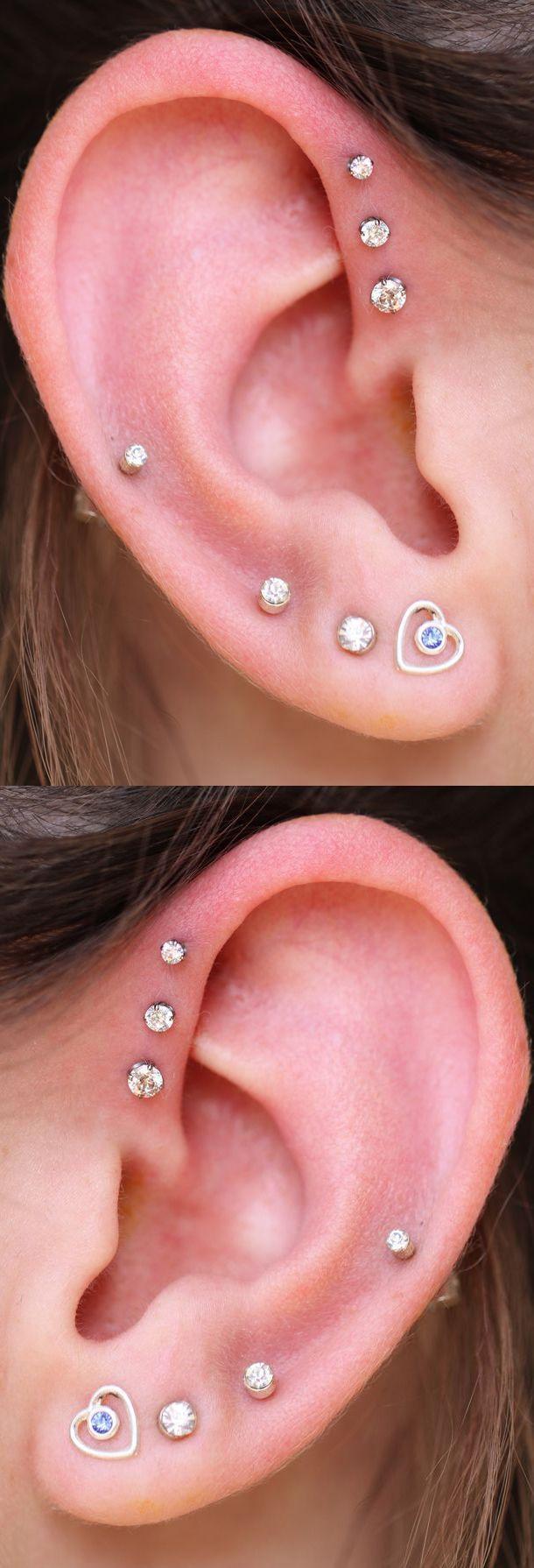 Cute Ear Piercing Ideas at MyBodiArt.com - Alva Crystal Triple Helix Piercing Studs Silver 16G - Heart Earring