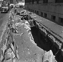 Earthquake damage outside Union Station, Seattle, 1965. Photo by John Vallentyne, Courtesy MOHAI