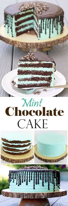 Rich chocolate sponge cake and mint cream is so tasty together and moist, you can't stop at one piece. The cake is not only delicious, but stunning. The dark brown and mint are beautifully contrasted colors that will make the cake stand out at any occasion.