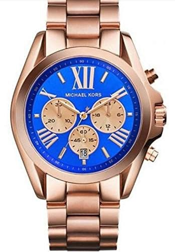 Michael Kors Bradshaw Blue Dial Rose Gold Tone Women Watch Mk5951 [Watch]