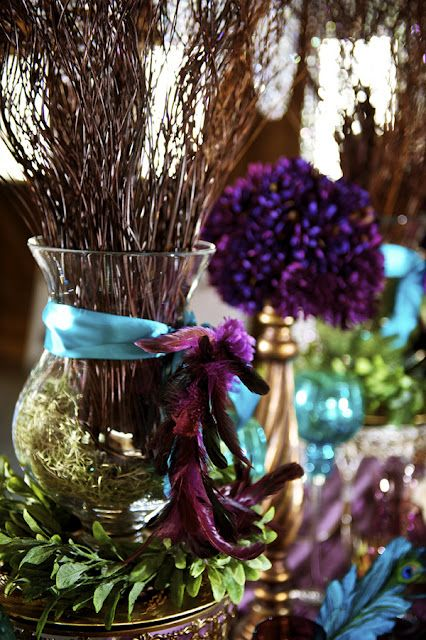 A peacock inspired tablescape.