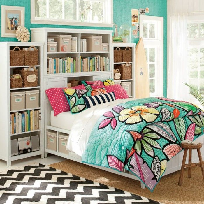 Interior, Colorful Decoration Teenage Girls Room: Compact Bed And Shelf With Colorful Quilt