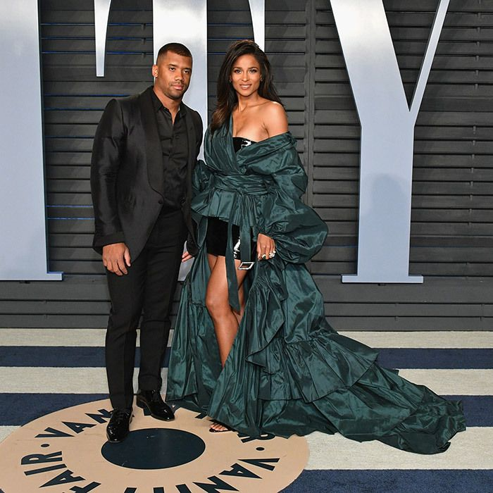 Russell Wilson and wife Ciara were one of the night's elegant couples. The singer stunned in a turquoise, Alexandre Vauthier gown while the NFL player wore an all-black suit.