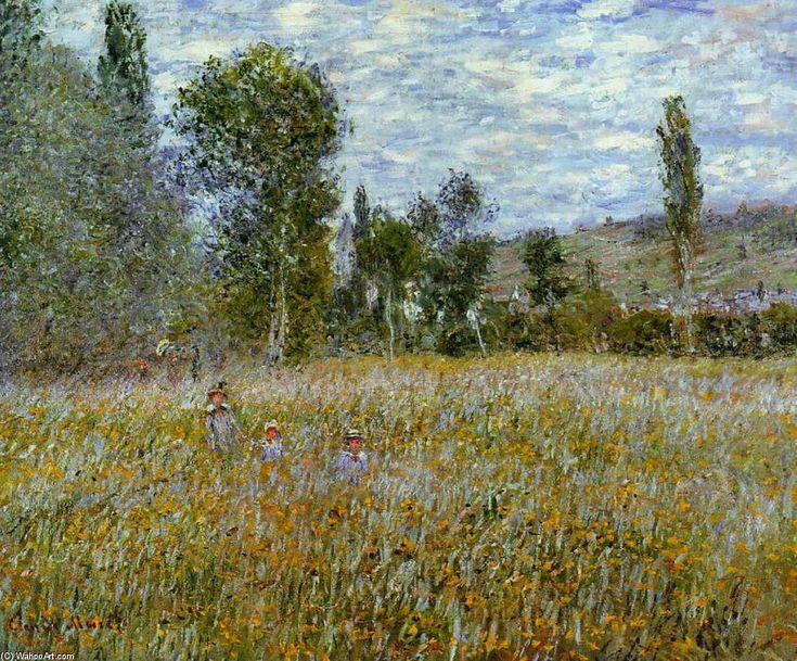 Acheter Tableau 'prairie' de Claude Monet - Achat d'une reproduction sur toile peinte à la main , Reproduction peinture, copie de tableau, reproduction d'oeuvres d'art sur toile