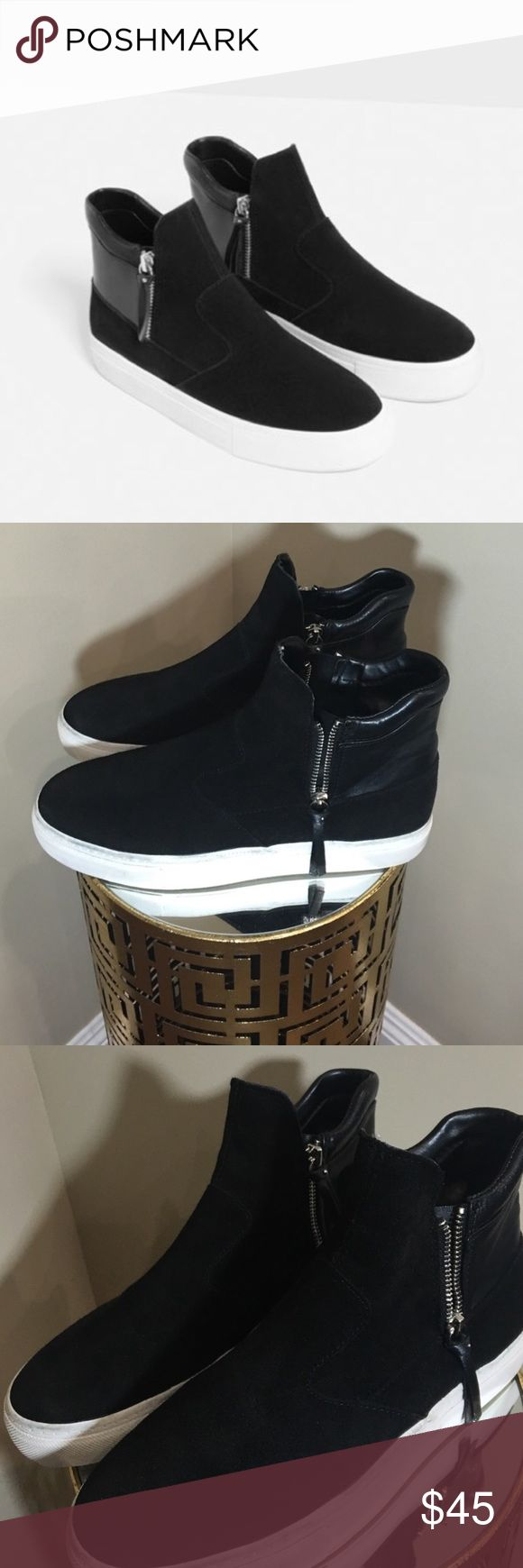 Zara high top sneakers Zara flat black leather high top sneakers with zippers on the side. Zara Shoes Sneakers