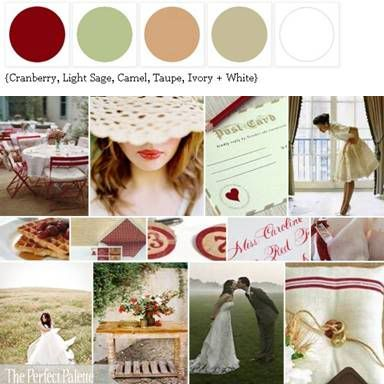 my current home palette--cream, white, taupe base, wood furniture in antique, textiles/sofa in taupe, accents in cranberry/ferrari red and sage green.