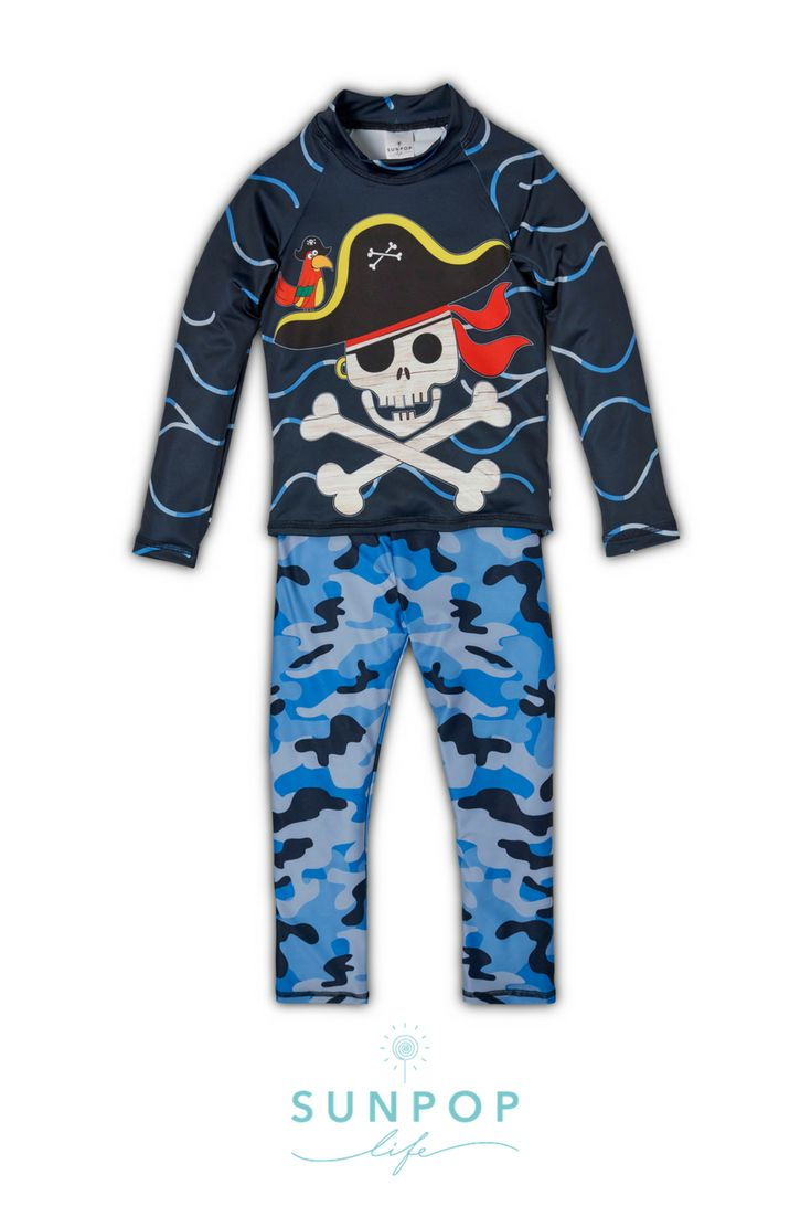 Where there is a pirate, there is a treasure, but not all treasure is silver or gold. Sun protective clothing may be the riches you are looking for. The Fun Pirate 2pc swimming Costumes will help you protect your little ones while they defy the sun under the sun. Hello?? Hello ?? Where there is a Parrot there is a Fun Pirate with a treasure or not. The parrot said.