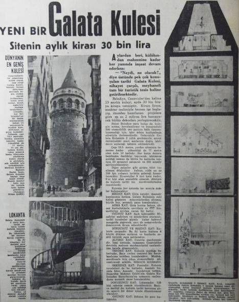 1968 yılında Galata Kulesi aylık 30 bin liraya kiraya verilmiş!