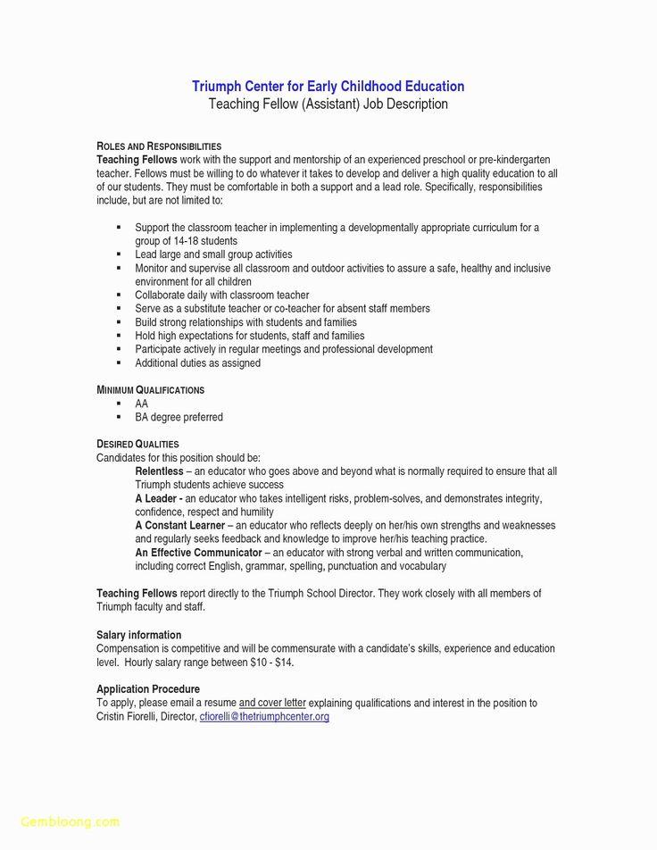 23 Child Care Job Description Resume in 2020 Preschool