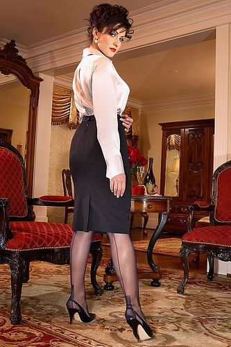 Pencil Skirt High Heels Seamed Stockings Secret In Lace