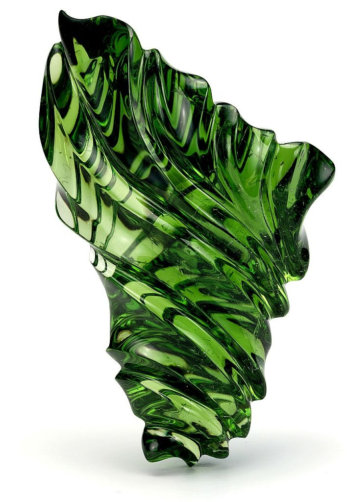 """Green dream"" 217 cts. Pakistan Peridot, Abstract Organic Carving, by Award-winning cutter, Larry Woods"