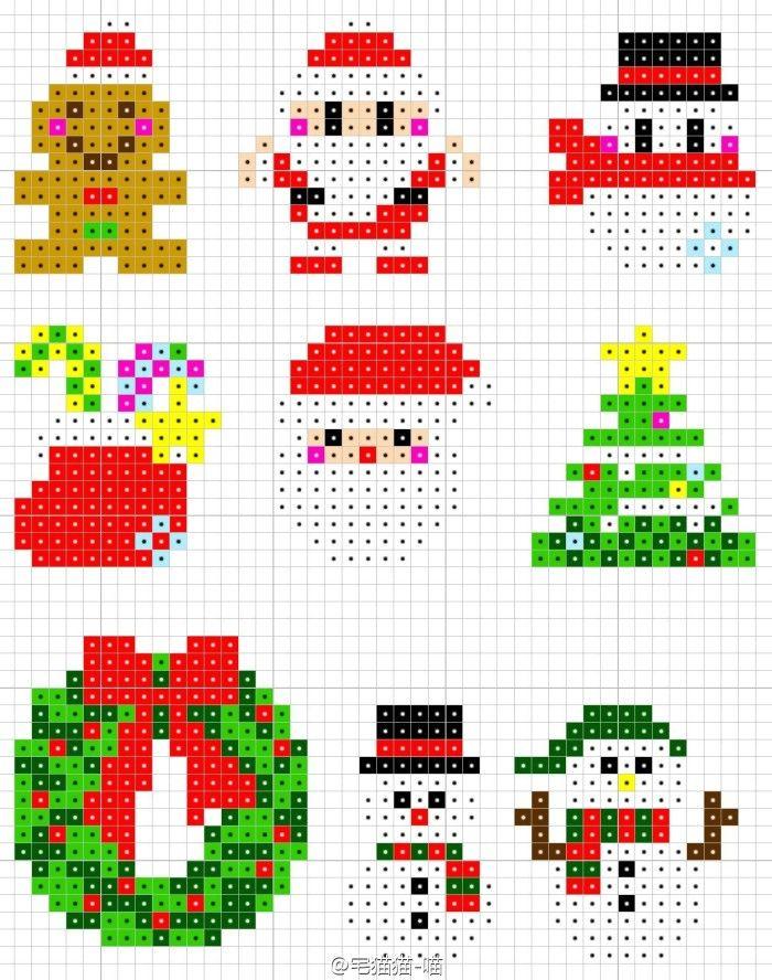 圣诞像素拼豆图纸--强迫症使然,我又把喜欢的圣诞图点成统一风格了,感谢各路大神分享的原作,小女纸兴奋的拼了一堆堆~圣诞即将来临了,赶紧用豆豆造棵美美的圣诞树吧!