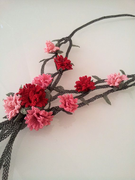 Pink Crochet Necklace Pink and Red Carnations Flower by berratosun, $100.00