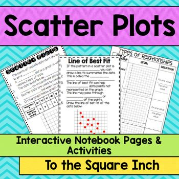 Introduction to Scatter Plots and Line of Best Fit No Prep Interactive Notebook PagesIncluded in this product: *Scatter Plots Guided Notes (2 per page)*Types of Relationships Notes(2 per page)*Lines of Best Fit Notes (2 per page)*Scatter Plot Practice (mini book)*Answer Keys Box and Whisker Plot No Prep Interactive Notebook Pages  Stem-and-Leaf Plot No Prep Interactive Notebook Pages Looking for Mean Absolute Deviation Task Cards?