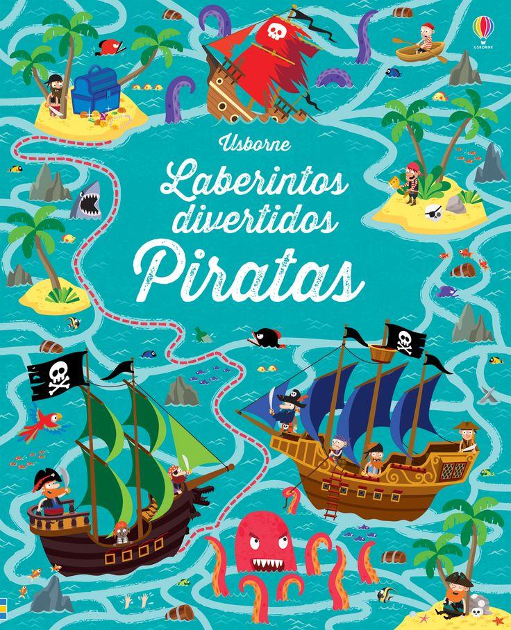 Los jóvenes bucaneros tendrán que esquivar cañones, evitar tiburones y avanzar sin tocar la lava ardiente de los volcanes para llegar a salvo a su destino en este libro de laberintos.  #libro #libros #infantiles #niños #paraniños #lecturainfantil #literaturainfantil #piratas #laberintos #divertidos