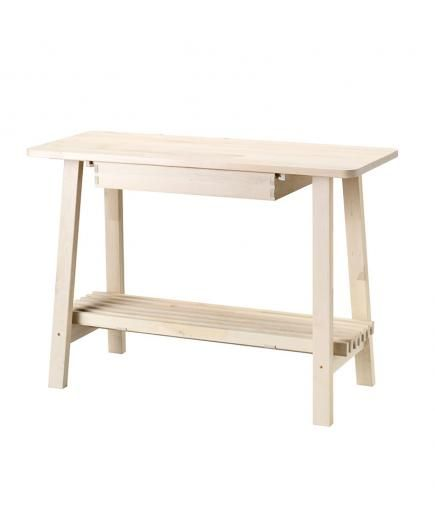 This slim solid birch table solves the problem of too little counter space or no kitchen - Birch kitchen table ...