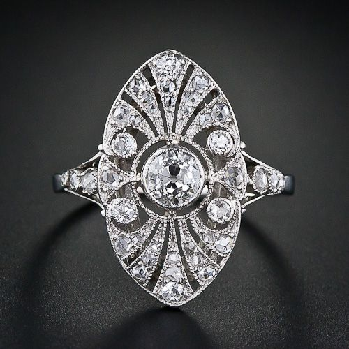 Diamond Edwardian dinner ring.   So pretty! From Lang Antiques' archives.