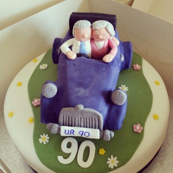 90th Birthday cake - Vintage car