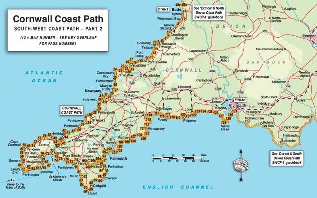 Detailed Map Of Cornwall Trailblazer Guide Books Cornwall