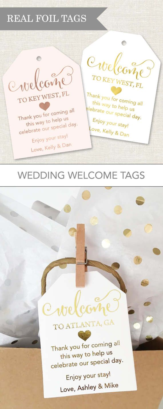 Wedding Welcome Tags are perfect for your wedding welcome bags welcoming out of town guests. Our custom foil tags are the perfect addition to your hotel welcome bags!